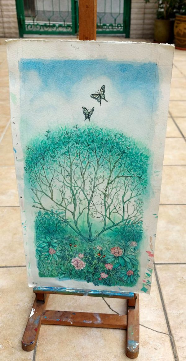 tea garden wiht butterflies